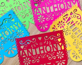 Mexican Custom Name Papel Picado Flags. Mexican Fiesta Decoration. Mexican Papel Picado Banner. Fiesta Party Supplies. Colorful Bunting