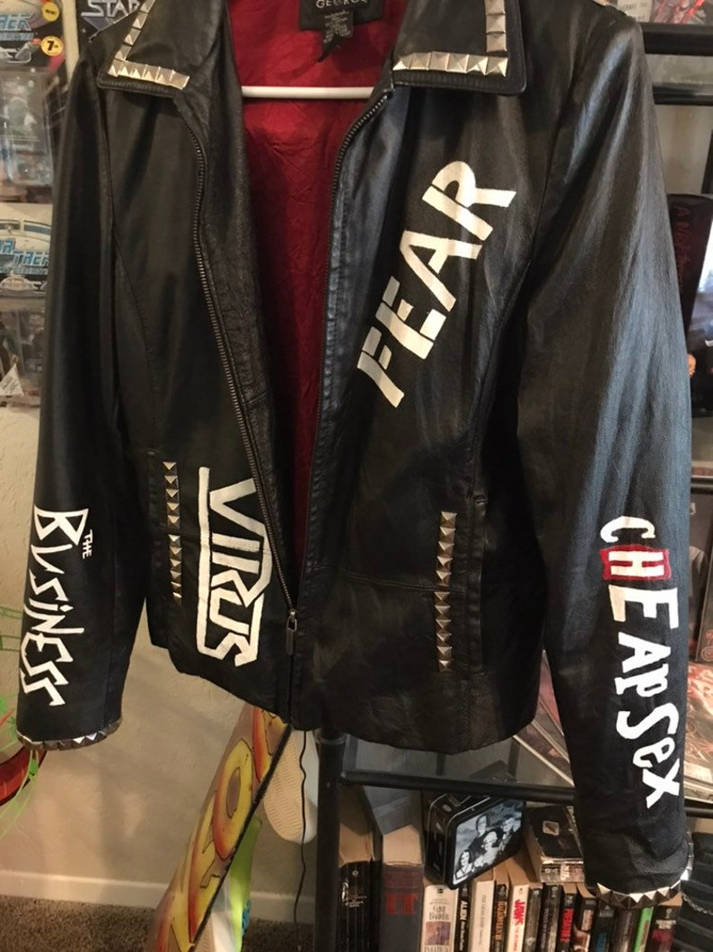 Punk leather studded painted jacket