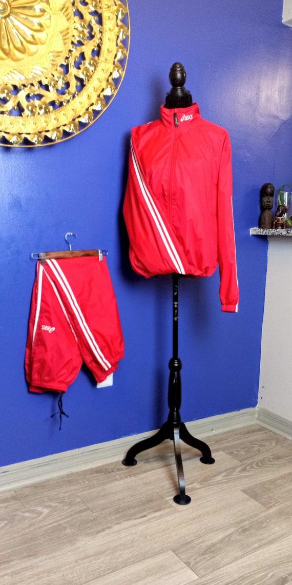 Vintage Asics Track Suit Windbreaker. Vintage Red