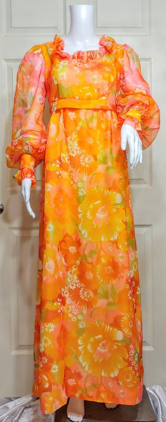 Vintage Prairie Floral 70's Maxi Dress