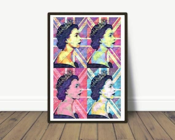 Queen Elizabeth II - Pop Art Andy Warhol Inspired Art - Modern art, Modern wall decor, British Queen, Pop Art, Modern Portrait, Iconic Art