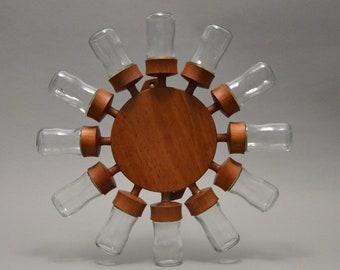 12 glasses Rare Danish mID-century Design Beech Digsmed Denmark Spice Jar Wheel revolving spice rack Spice carroussel