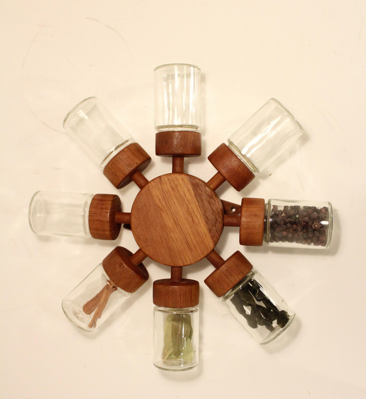 Vtg 60s Teak Wood Lid Glass Spice Jar Bottle DIGSMED DANISH MOD
