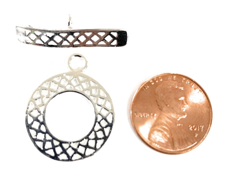 Silver Plated Toggle Clasps 2-sets filigree style Copper.