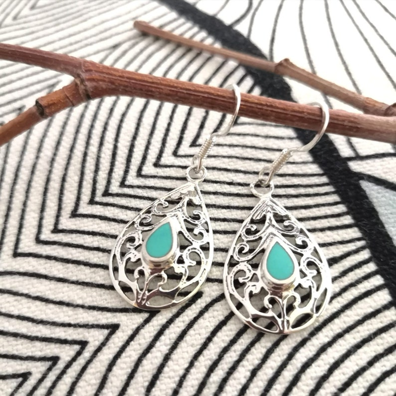 Silver earrings 9251000 imitation Turquoise