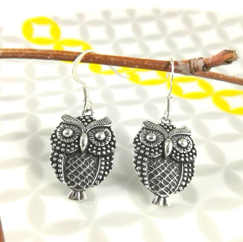 Silver earrings 9251000 oxidized Massif Owl