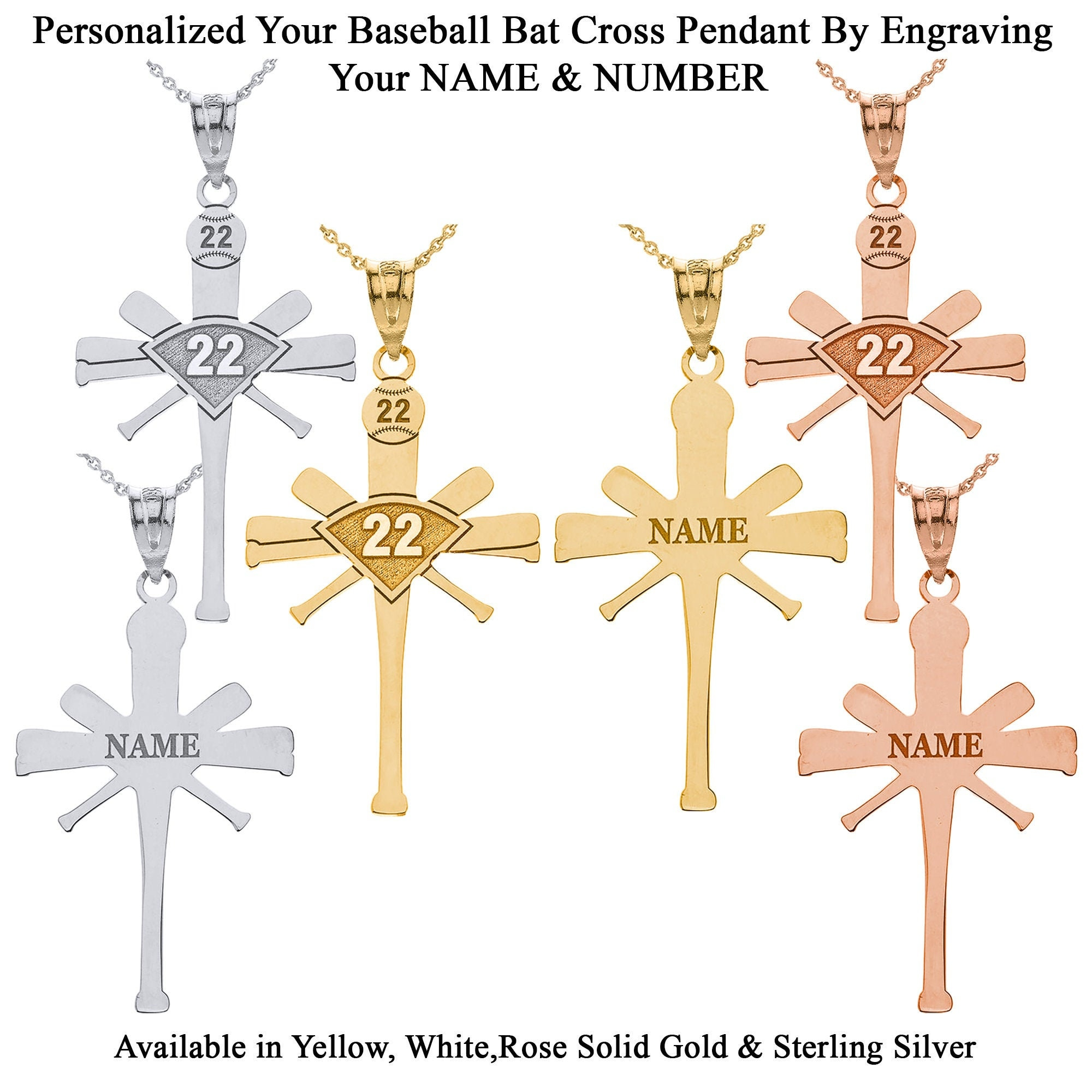 White Available in Solid 14K Yellow Gold and Sterling Silver Baseball Mom Pendant
