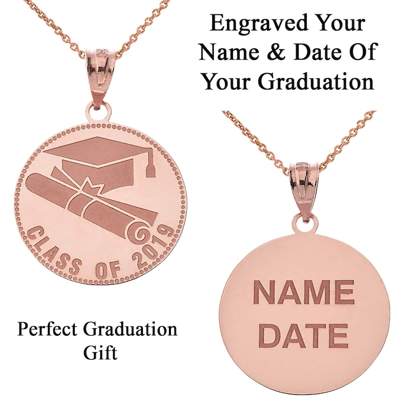 Rose Gold or .925 Silver Personalized Engravable Graduation Name /& Date Class of 2019 Pendant Necklace Handcrafted in Solid Yellow White
