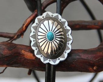 Flower Pattern Small Turquoise - Western Cowboy Bola BOLO Tie for Men Women Groomsmen Bridegroom - Wedding Necklace