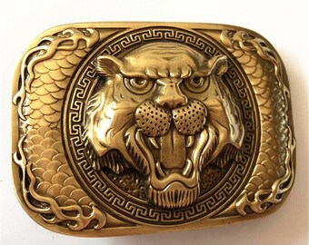 2b449bae3 Hand-made Polished Vintage Antique Pure Brasss Belt Buckle Tiger Head  Western Cowboy