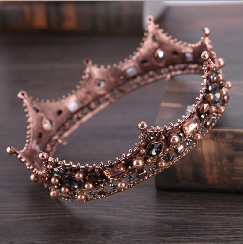 European Vintage Royal Court Baroque Bridal Headdress Headband Crown Inlay Diamond Round Princess Crown Wedding