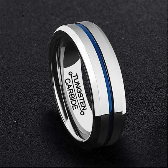 6MM Mens Tungsten Carbide Ring - Thin Blue Line - Wedding Band