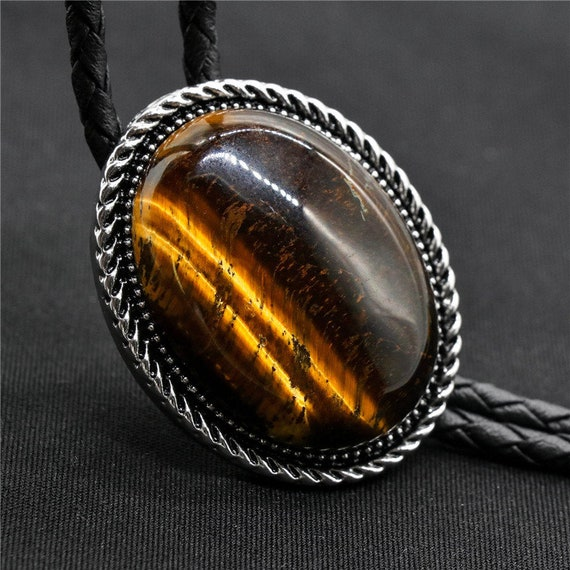 Bolo Tie for Men Natural Turquoise Tiger Eye Western Cowboy Bolo Tie for Women
