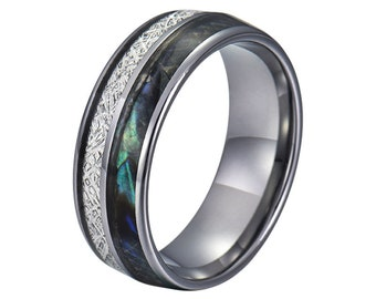 8MM Mens Tungsten Carbide Ring Meteorite & Opal Engagement Wedding Band - Personalized Engraving Men's Ring