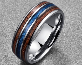 8MM Mens Silver Tungsten Carbide Ring - Engagement Wedding Band - Opal + Wood Inlaid- Personalized Engraving Men's Ring