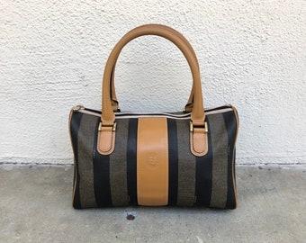 87e52f323450 80s VINTAGE FENDI bag pequin coated canvas black monogram signature striped  classic tan leather Boston speedy purse small designer handbag
