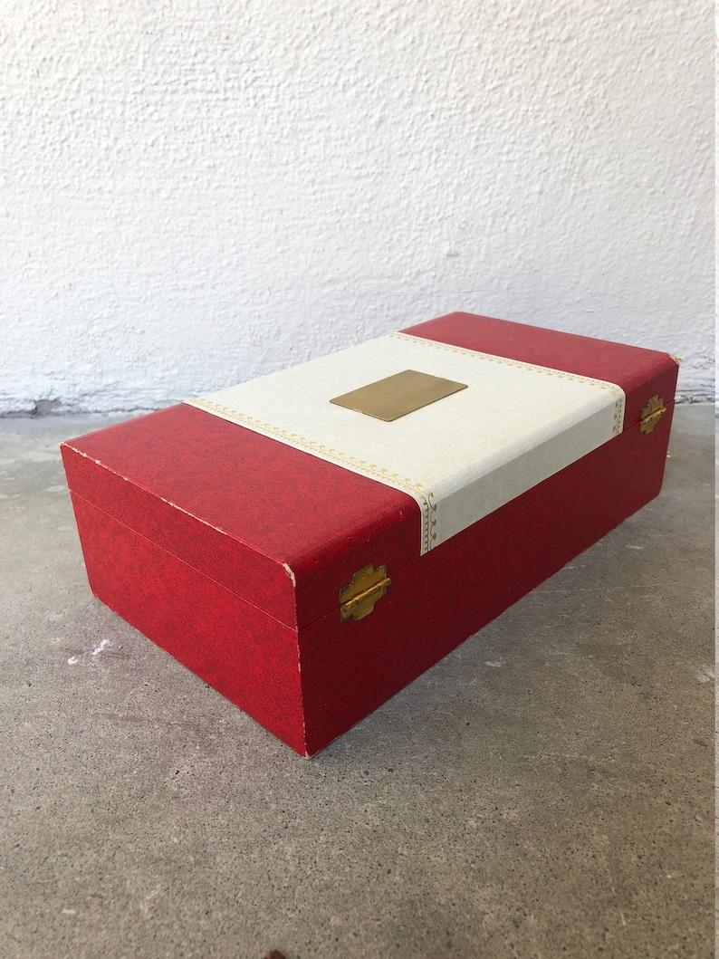 60s VINTAGE Mid Century Jewelry Box red beige & metallic yellow gold hardware velvet lined ...