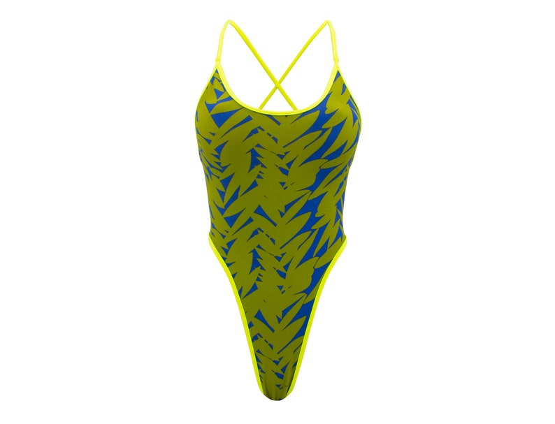 Green One Piece Women Swimsuit Thong One Piece Swimsuit Lime Thong Bodysuit Bodysuit Pattern Swimwear One Piece Bathing Suit
