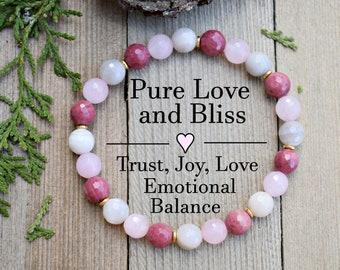 forgiveness healing bracelet Rhodonite Rose Quartz compassion self love