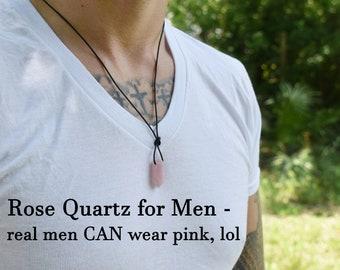 Men Women Meditation Jewelry Clear Quartz Necklace Terminated Ckear Quartz Leather Necklace