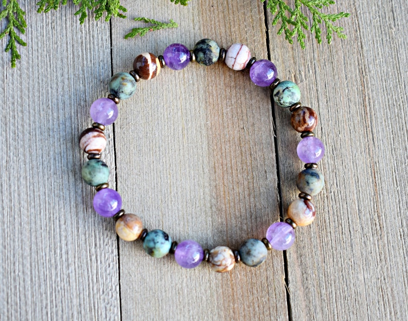 and Jasper. Gemstone Bracelet of Amethyst Empath Protection and Support African Turquoise