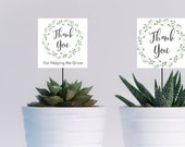 Thank You for Helping Me Grow Teacher Appreciation Gift Topper Green Wreath Succulent Topper EDITABLE Template Instant Download Printable