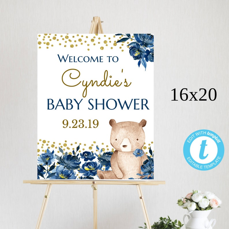 Navy Floral Baby Shower Welcome Sign; Blue Welcome Poster for Baby Shower; BSNB; Woodland Bear EDITABLE Template Instant Download Printable