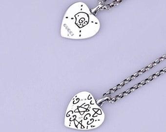 70d238fb7 Double G Skull Graffiti Necklace Pendant 925 Sterling Silver Biker Punk  Rock Vintage Jewelry