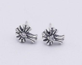 c43ab21a4 Cross Crystal Diamond Earring Stud 925 Sterling Silver Biker Punk Rock Vintage  Jewelry