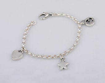74accbc3f Doube G Dangle Charm Bracelet Chain 925 Sterling Silver Biker Punk Style