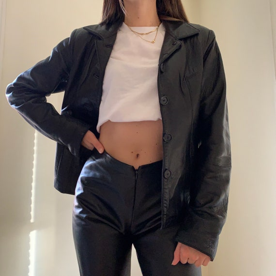 Vintage 1990s Genuine Leather Blazer