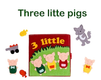 Three little pigs quiet book  busy book, activity book   Finger puppets, pretend play