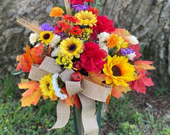 Missing you Fall Autumn cemetery vase Flowers