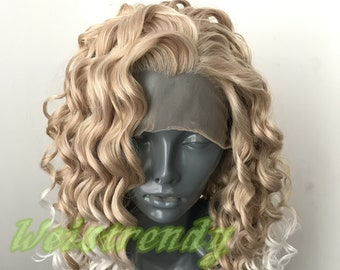 Ombre Mixed Blonde to White Long Curly Soft Swiss Lace Closure Free Parting Lace Front Wig Heat Safe Fiber