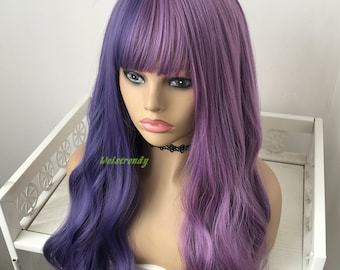 Half and Half Mixed Purple Blue | Lavender Platinum Blonde Long Straight Waves Hair Premium Synthetic No Lace Wig with Bangs Heat Safe