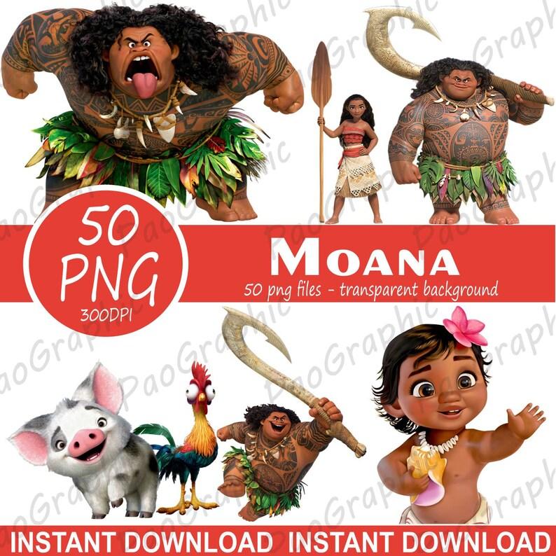 Moana Clipart  Moana png  Digital images Moana  Transparent background   Scrapbook Disney Clipart  Maui png  Maui Clipart  Moana party