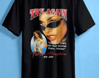 4ab7a39e9 aaliyah shirt aaliyah t shirt aaliyah try again street wear home made gildan  t shirt mens size S,M,L,XL,2XL