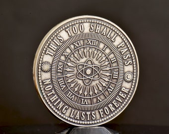 This Too Shall Pass | EDC Reminder Coins | Daily Carry Silver Medallion Gift Idea for Him / Her | Philosophy Reflection Motivation Coin Gift