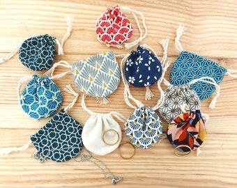 mini Jewellery bag drawstring pouch handmade round pouch sac pochon 100% Cotton fabric drawstring gift bags storage gemstones bag miniture