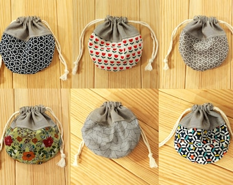 Sac pochon,round pouch small Jewellery bag handmade Cotton fabric drawstring bag floral modern gift bags storage earphones gemstones bags