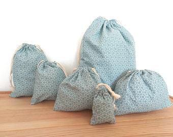 Pochon Cadeau Coton / gift bag Pastel blue cube print cotton drawstring bags gift wrap clothes toys / Oeko-tex fabric bulk bag food bag