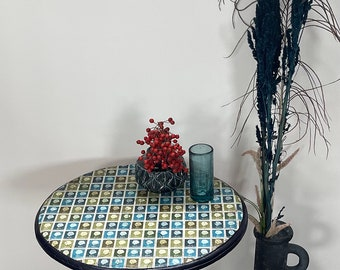Side table, decorated with old Dutch stamps, in blue green tones.