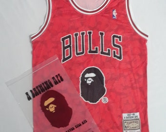 994fa677d Bape x Mitchell and Ness x Chicago Bulls Jersey Shirt Mens Size Small