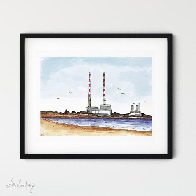 Poolbeg Chimneys Dublin Giclée fine art/uncoated card print A4