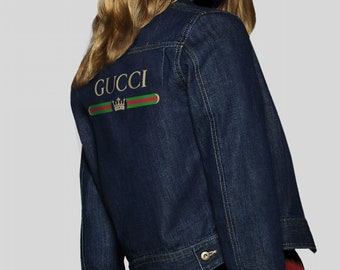 a49fffcd6e7a Gucci Denim Jacket Gucci Logo Jeans Jacket Red Snake Brand Bomber Gucci  Clothing Women Brand Clothes Gucci Inspired Gift Ideas MS0133