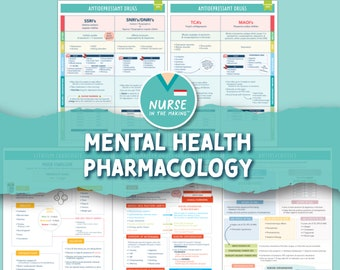 Mental Health Pharmacology - 5 pages - Digital Download Only