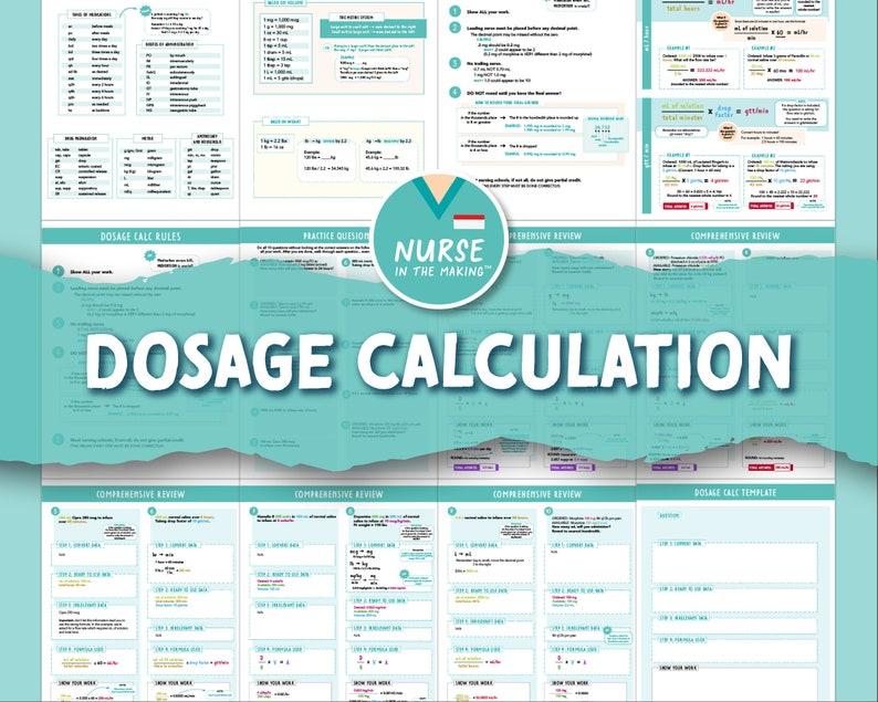 Dosage Calculation Bundle  12 Pages  Practice Exam  Formula image 1