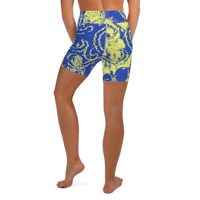 Pilates Yoga Comfortable Women/'s Gymnastics Shorts Every Sport Elastic A Lightweight Women/'s Patterned Design Abstract Blue And Yellow