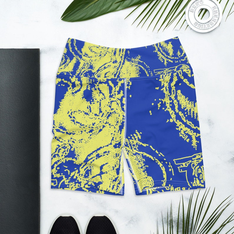 Women/'s Gymnastics Shorts Elastic Pilates A Lightweight Women/'s Patterned Design Abstract Blue And Yellow Comfortable Every Sport Yoga