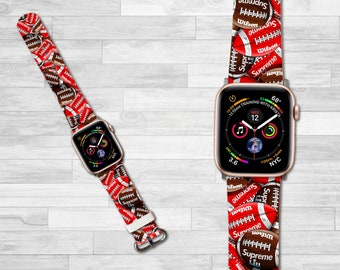 Inspired By Supreme Apple Watch Band Strap 38 40 42 44 Mm Iwatch Leather